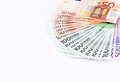Euro banknotes money over white background Stock Photography