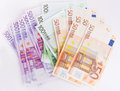 Euro banknotes money over white background Stock Image