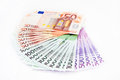 Euro banknotes money over white background Royalty Free Stock Image