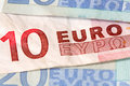 Euro banknotes with selective focus shallow depth of field and Stock Images