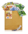 Euro banknotes in a shopping bag on white background Royalty Free Stock Photo