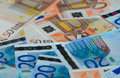 Euro banknotes some of different denomination Royalty Free Stock Photo