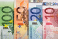 Euro banknotes with various denomination close up of Royalty Free Stock Image