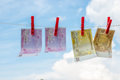 Euro banknotes weigh on the rope as linen . Royalty Free Stock Photo