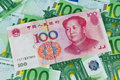 Euro banknotes and Yuan Stock Photography
