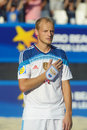 Euro beach soccer league moscow russia july anatoliy peremitin of russia sings the national anthem before the match with spain Royalty Free Stock Photo