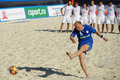 Euro beach soccer league moscow russia july andreas aniko of estonia performs penalty shoot out in the match with kazakhstan Stock Photography