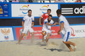 Euro beach soccer league moscow russia july match belarus vs greece during stage of belarus won Stock Photos