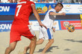 Euro beach soccer league moscow russia july match belarus vs greece during stage of belarus won Royalty Free Stock Photo
