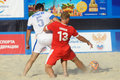 Euro beach soccer league moscow russia july match belarus vs greece during stage of belarus won Royalty Free Stock Image