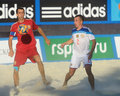 Euro beach soccer league moscow russia july match russia vs spain during stage of russia won the match and took the first Stock Image