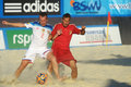 Euro beach soccer league moscow russia july match russia vs spain during stage of russia won the match and took the first Royalty Free Stock Image