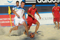 Euro beach soccer league moscow russia july match russia vs spain during stage of russia won the match and took the first Royalty Free Stock Photo