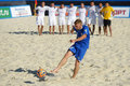 Euro beach soccer league moscow russia july ragnar rump of estonia performs penalty shoot out in the match with kazakhstan during Stock Image