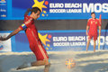 Euro beach soccer league moscow russia july team captain of spain juan martin lima kick the ball in the match with russia during Stock Photography