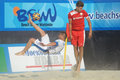 Euro beach soccer league moscow russia july theofilos triantafyllidis of greece performs the bicycle kick in the match with Stock Photography