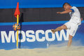 Euro beach soccer league moscow russia july theofilos triantafyllidis of greece performs the corner kick in the match with belarus Royalty Free Stock Photo