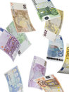 Euro bill collage isolated on white Royalty Free Stock Photo