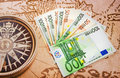 Euro bills on the big map close up europe Royalty Free Stock Image