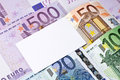Euro bills and blank business, thank you, or greeting card