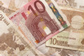 Euro bills close up of horizontal background photo Stock Photo