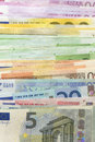 Euro bills close up of vertical background Stock Image