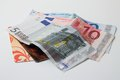 Euro bills and credit cards on white background horizontal photo of three two Royalty Free Stock Photos