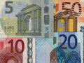 Euro bills detail of the ciphers of some banknotes Royalty Free Stock Photo