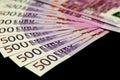 500 euro bills isolated on black Royalty Free Stock Photo