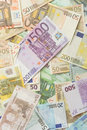 Euro bills mixed vertical background Royalty Free Stock Image