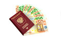 Euro bills in the passport on white isolated Royalty Free Stock Photo