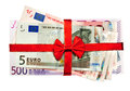 Euro bills with red ribbon Stock Photography
