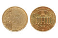 Euro cent coin isolated over white front and rear side Royalty Free Stock Photo