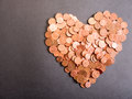 Euro cent love heart made out of a pile of eurocents for your financial bonus cashback gifts and presents copy note that the money Stock Images