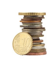 Euro cent and other coins Royalty Free Stock Photo