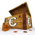 Euro chest of coins shows european prosperity showing and economy Royalty Free Stock Image
