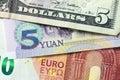 Euro, China Yuan and US dollar banknotes Royalty Free Stock Photo