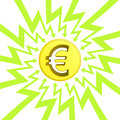 Euro coin in arrow zigzag circle vector illustration Stock Photos