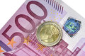 Euro coin and banknote a of a bill of Stock Photo