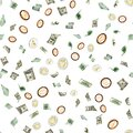 Euro coin flying seamless pattern banknotes. European, Washington American cash, Bitcoin on white. Us dollar money background Royalty Free Stock Photo