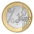 Euro coin with percent sign Royalty Free Stock Images