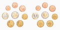Euro coin a pile of money coins on white background Royalty Free Stock Photos