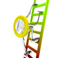 Euro coin robot climbs to the top of the ladder illustration Royalty Free Stock Photo