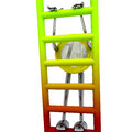 Euro coin robot climbs up the ladder illustration Royalty Free Stock Photo