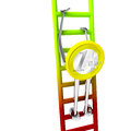 Euro coin robot climbs up on red green ladder illustration Royalty Free Stock Photo
