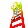 Euro coin robot goes up the ladder illustration Royalty Free Stock Photo