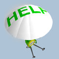 Euro coin robot paratrooper help rendering illustration Stock Photo