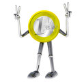 Euro coin robot victor showing succes rendering illustration Royalty Free Stock Photography