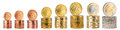 Euro coin stack collection Royalty Free Stock Photo
