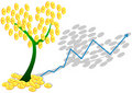 Euro coin tree and graph Royalty Free Stock Photo